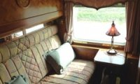 Passenger compartment in an old timey steam train
